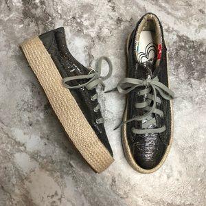 Cafenoir Platform Espadrille Tennis Shoes Metallic